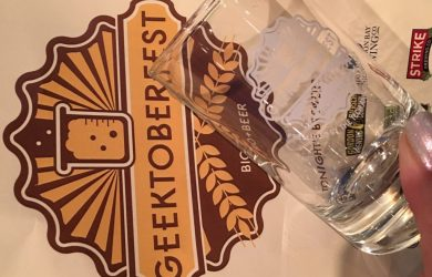 Geektoberfest Glass and sign