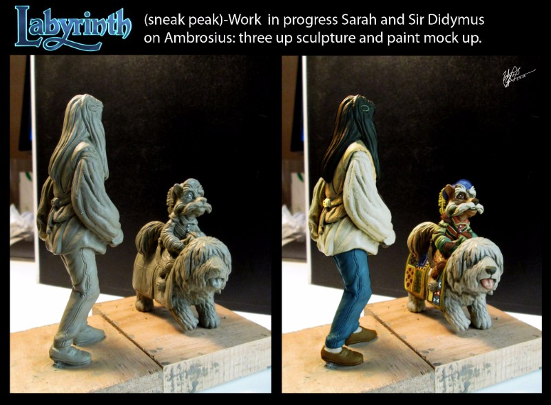 Work in progress Sarah and Sir Didymus on Ambrosius three up sculputre and paint mock up