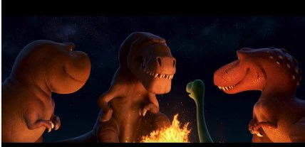 Butch tells Arlo a tale in this still from The Good Dinosaur
