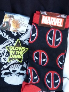 Deadpool and Harry Potter socks