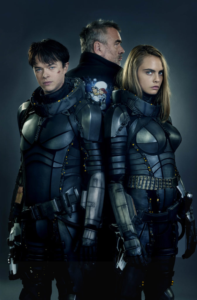 M-1VDF-2727145-1 (Left to right.) Star Dane DeHaan, director Luc Besson and star Cara Delevingne team up for EuropaCorp's Valerian and the City of a Thousand Planets. Photo credit: Daniel Smith © 2016 VALERIAN SAS Ð TF1 FILMS PRODUCTION