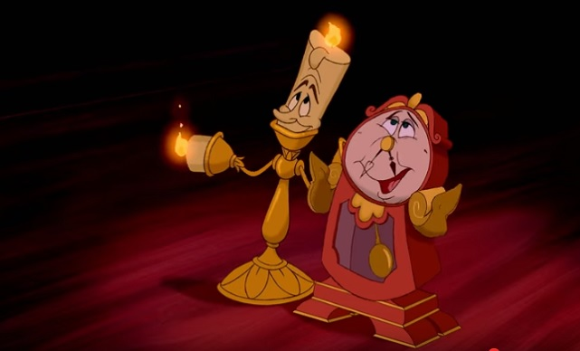 Animated Cogsworth and Lumiere
