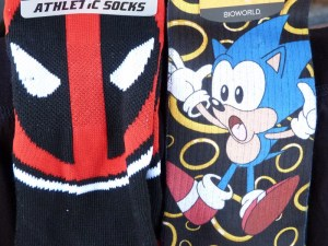 September 2016 Loot Crate Level Up Socks--Deadpool and Sonic the Hedgehog