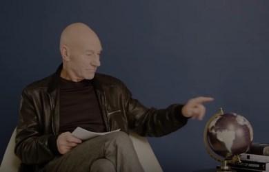 Patrick Stewart reads 1-star reviews as he sits by an Ikea Globe