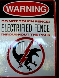 Jurassic Park Electrified Fence Sign from Primal Loot Wear