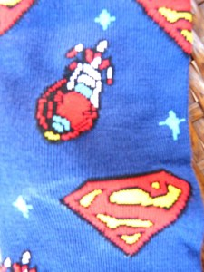 Superman Socks with his logo and ship