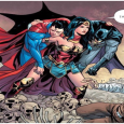 Wonder Woman carries Batman and Superman