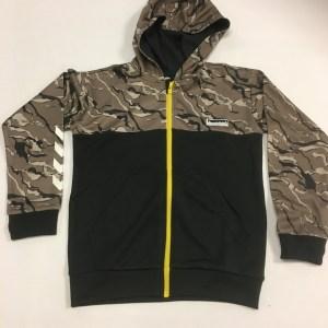 hummel trøje med zip sort med grå