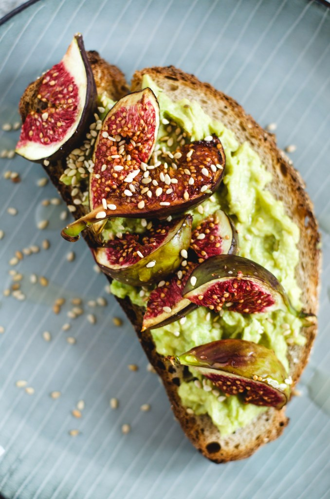 Avocado and Tahini Tartine with Balsamic roasted Figs or fancy avo toast.. -
