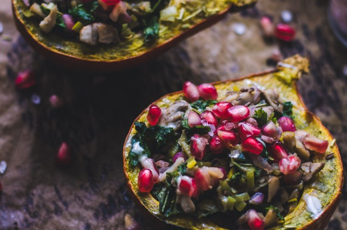 Stuffed Pumpkin / Mushrooms, Leek and Pomegranate Seeds