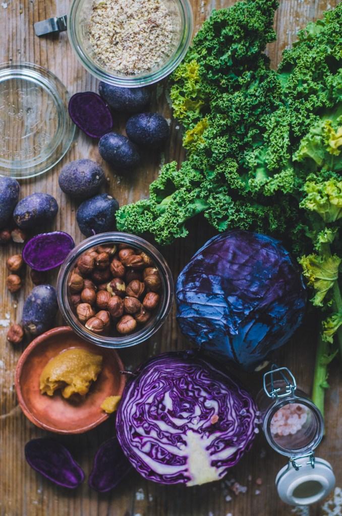 Roasted Purple Veggies / Purple Potatoes, Cabbage & Hazelnuts / Kale Miso Pesto