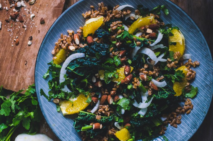 Wintery Farro Salad / Orange, Cavolo Nero & Almonds