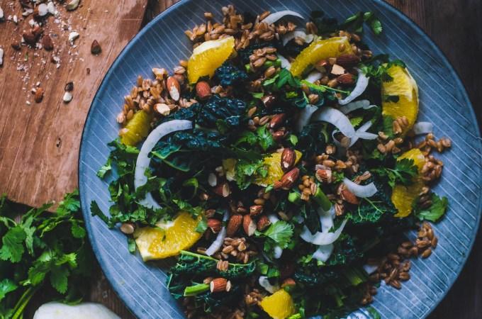 Wintery Farro Salad / Orange, Cavolo Nero & Almonds