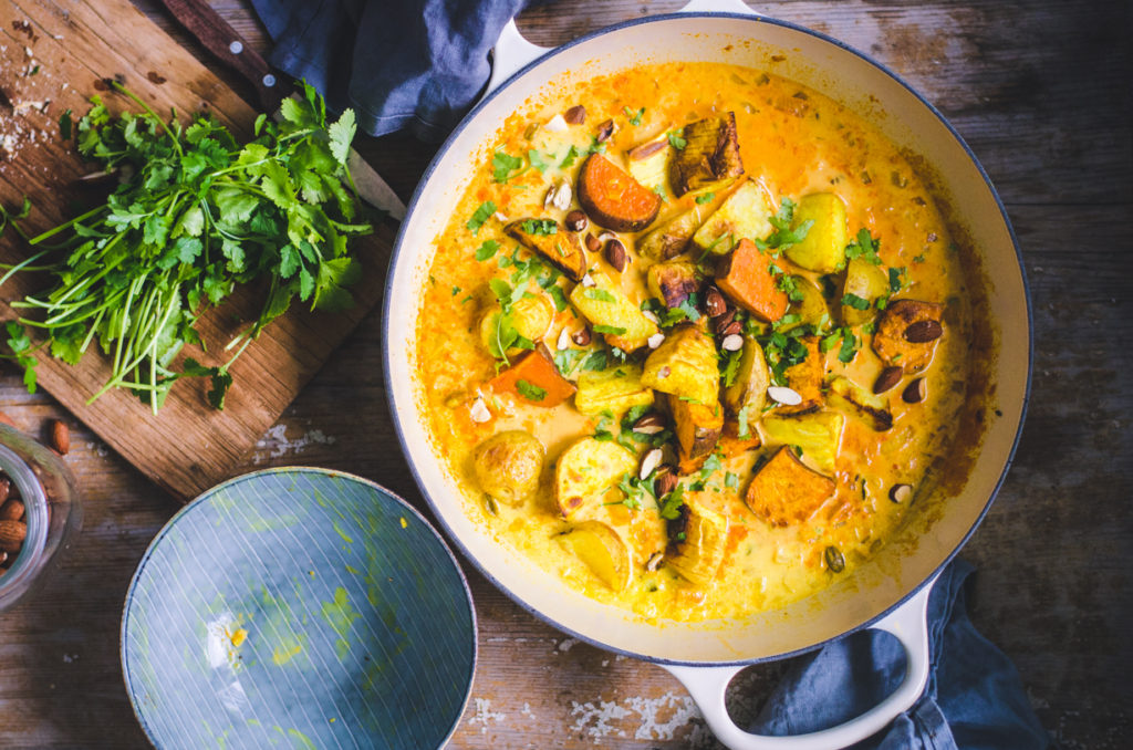 Roasted Root Veggie Curry Sweet Potato Potato And Turnip