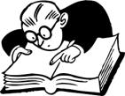 zwart/wit vector van voor over gebogenman die boek leest