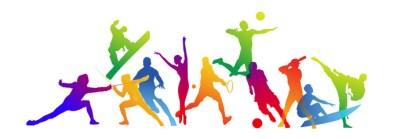 uitgebeeld verschillende soorten sport door gekleurde personen, o.a. schermen, snowboarden, voetbal, surfen, honkbal, vechtsport, volleybal, ballet, tennis en baketbal.