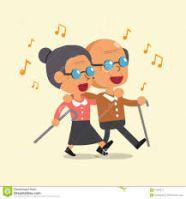 vector oude man en vrouw die zingen