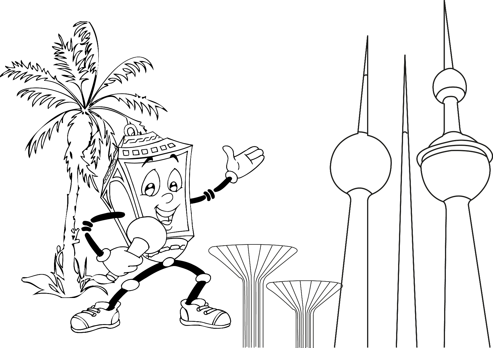 Kuwait Towers Coloring Page Sketch Coloring Page