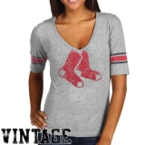 Red Jacket Boston Red Sox Women's Trainer V-Neck T-Shirt - Ash