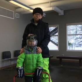Andy Choi ready to play hockey.
