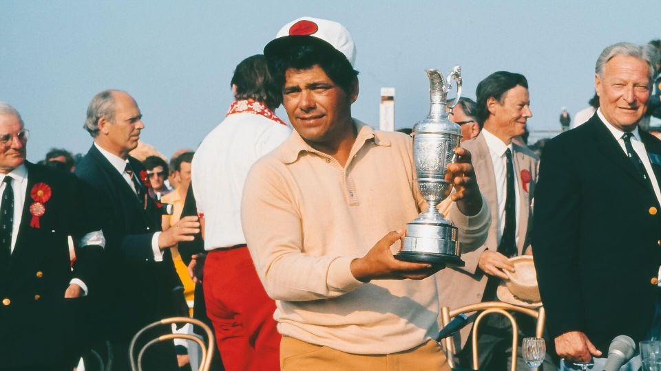 Golf Lee Trevino (USA) with the trophy British Open Golf Championships at Muirfield 15/07/1972 Muirfield Open 1972: Final DaySport.