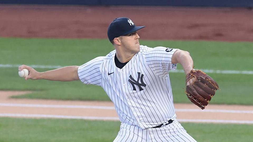 Jameson Taillon delivers pitch during first start for Yankees