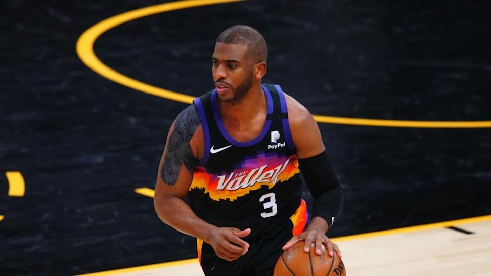 May 25, 2021; Phoenix, Arizona, USA; Phoenix Suns guard Chris Paul (3) against the Los Angeles Lakers during game two of the first round of the 2021 NBA Playoffs at Phoenix Suns Arena.