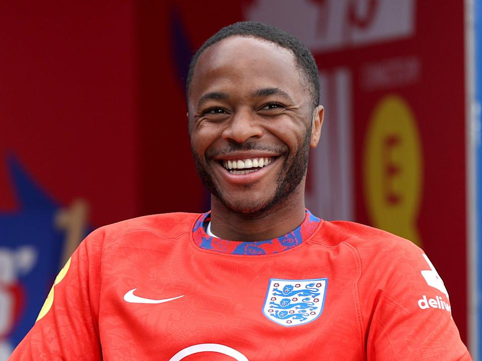 Raheem Sterling of England is interviewed at St George's Park (Getty)