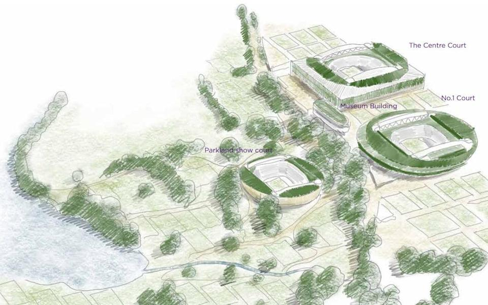 Wimbledon plans to build a new 8,000-seat arena and 38 additional grass courts