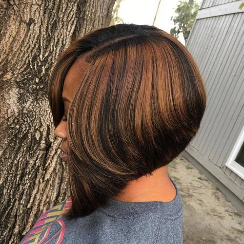 Black Bob with Caramel Highlights - Bob Hairstyles For Black Women