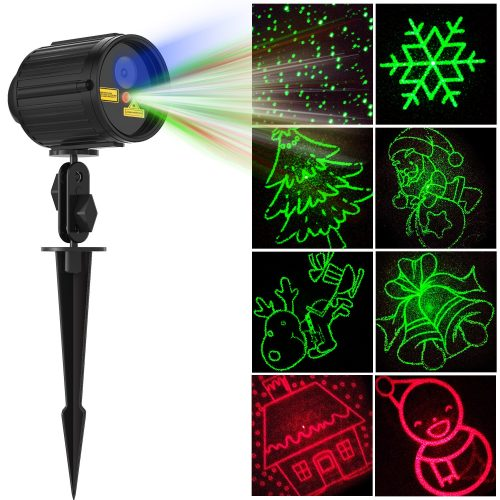 Christmas Projector Lights Laser Show Star Light Shower RF Wireless Remote RED and GREEN 8 Patterns BLUE LED Waterproof for Xmas, Holiday, Parties and Garden Decoration - Christmas Laser Light Projectors