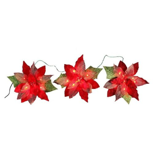 Red 3-Poinsettia Flower Garland LED - Cheap Christmas Decorations