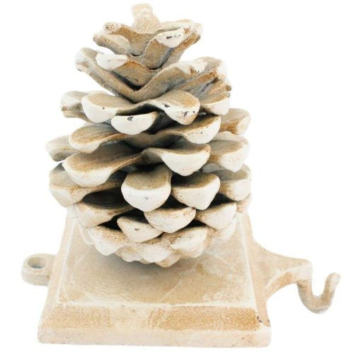 Stocking Holder Pinecone, White - Christmas Stocking Holders