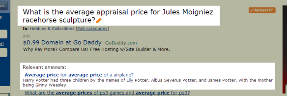 random ass answer to Jules Moigniez appraisal query