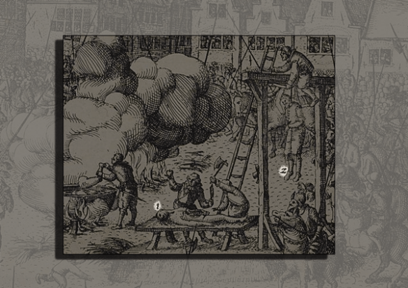 detail with numbering highlighted: the execution of Guy Fawkes engraving by Nicolaes Jansz Visscher #fantasticdrivel