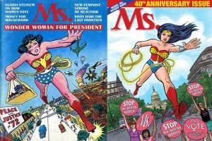 Capa da revista feminista Ms. (1972) e a comemoração dos 40 anos da revista em 2012.