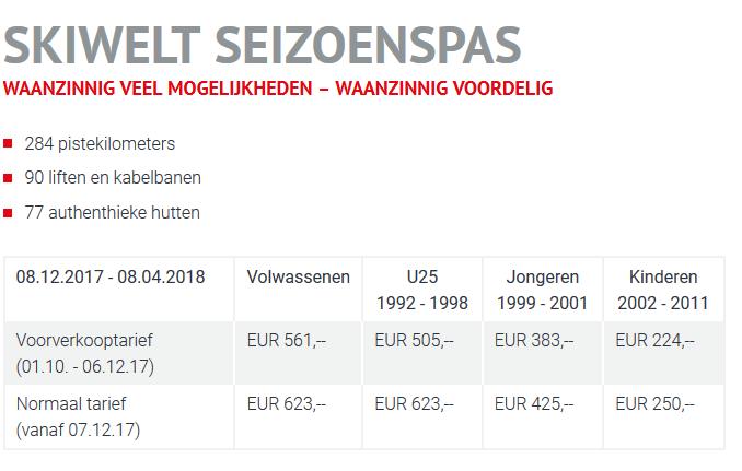 Seizoenskaart SkiWelt 2017 2018