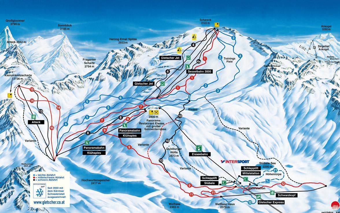 pistekaart Mölltaler gletscher