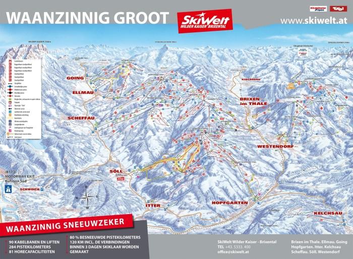 Pistekaart Skiwelt Wilderkaiser Brixental 2019-2020