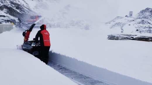 Pitztaler Gletsjer sneeuw op 26 september 2020 50 cm sneeuw sneeuwfrees