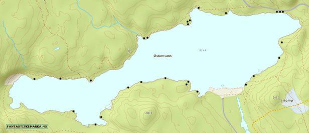 Kartutsnitt over Østernvann med merking av teltplasser - Oslomarka - Bærumsmarka - Fantastiske marka