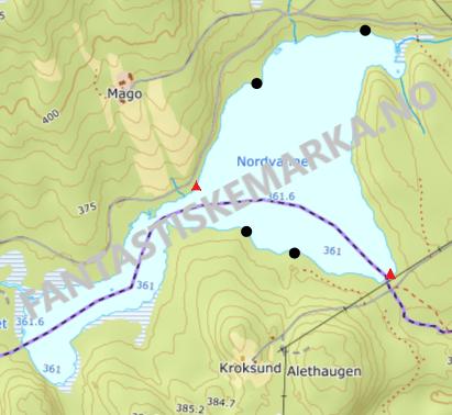 teltplasser - hengekøyeplasser ved Nordvannet i Nordmarka - Oslomarka - Fantastiske marka
