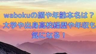 wabokuの顔や年齢本名は?大学や出身高校経歴や年収も気になる!