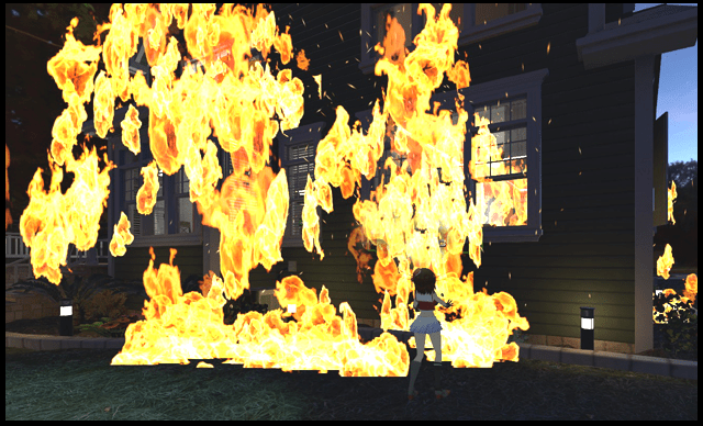 Nomic stands in front of a suburban house that is definitely not on fire.
