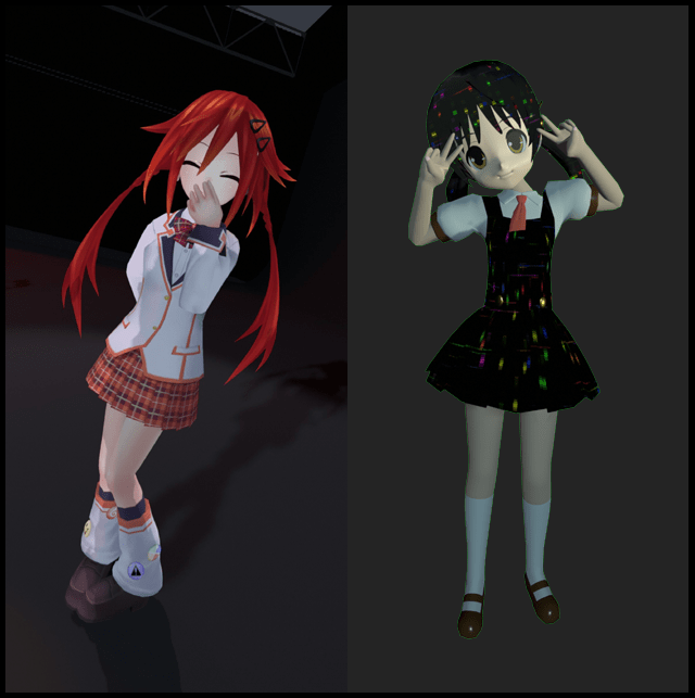 Goblox, a red-haired male anime girl (left) and Snail, a dark-haired male anime girl (right).