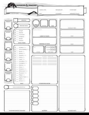 D&D Character Sheet Blank
