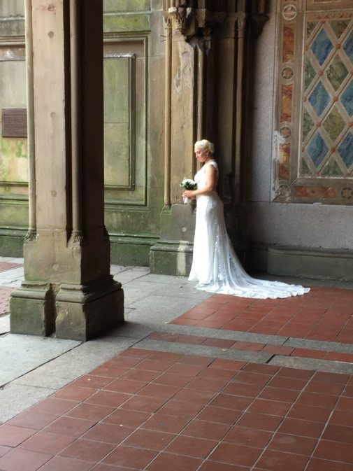 Fantasy Aisle, A beautiful bride poses at Bethesda Terrace and Fountain (lower passage) in Central Park