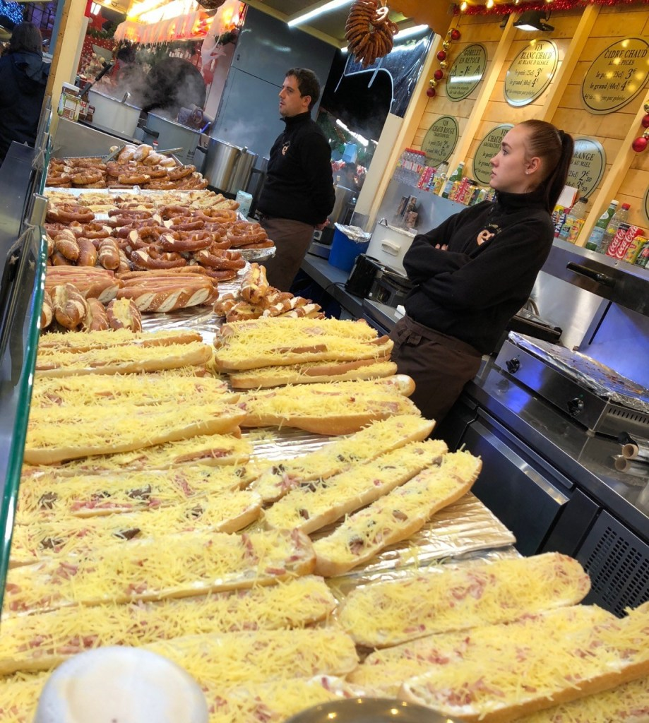 Fantasy Aisle, Bread with melted cheese in Strasbourg, France