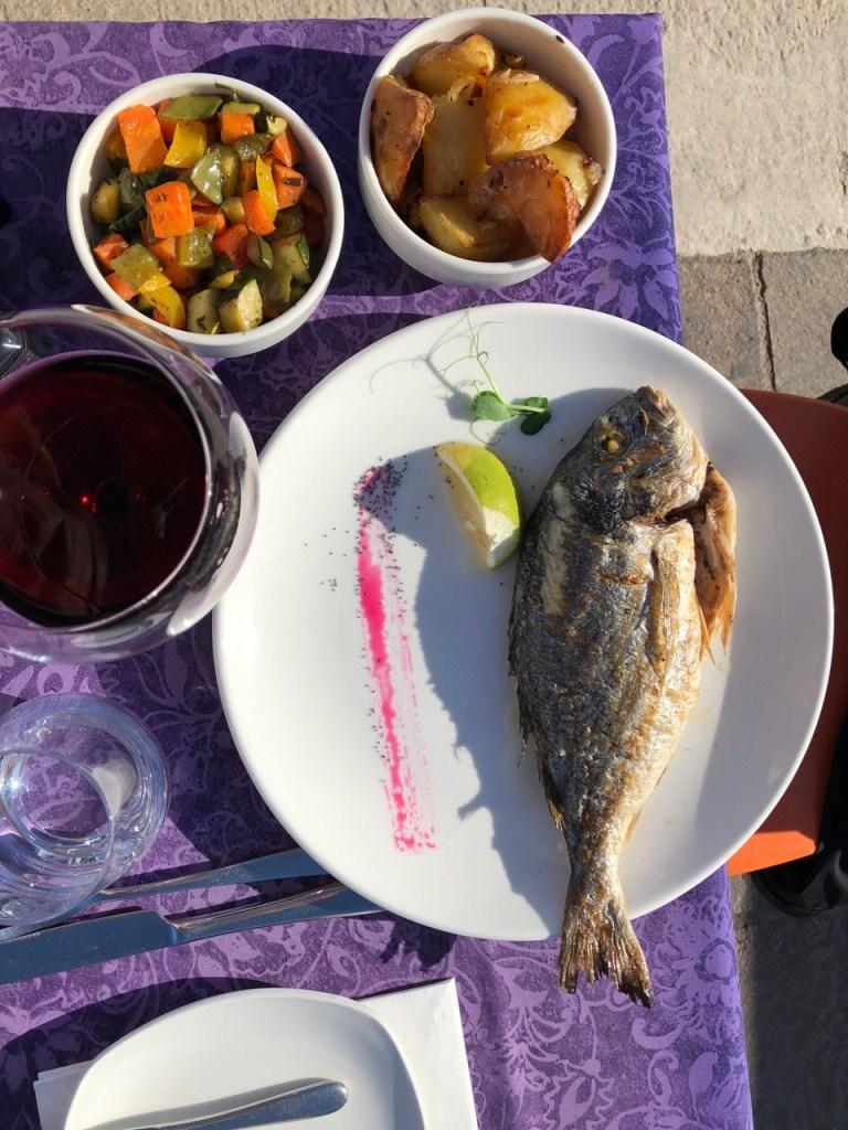Fantasy Aisle, Seabass, veggie, and wine!