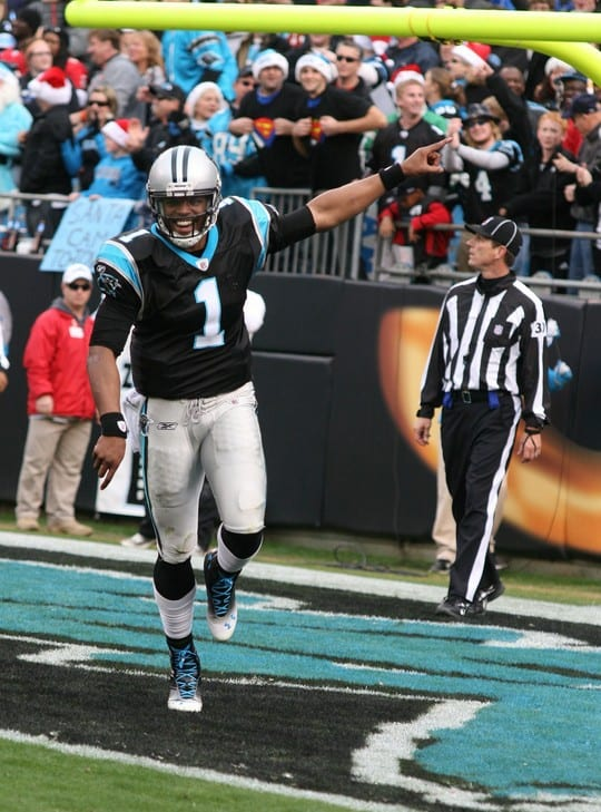 Cam Newton after scoring a touchdown
